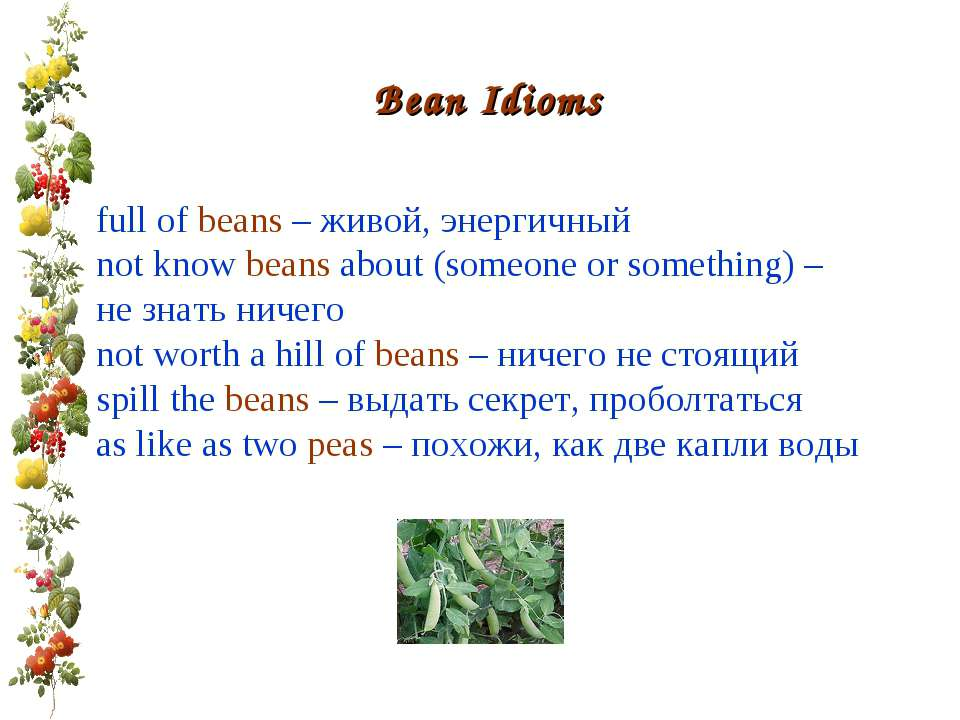 Bean Idioms full of beans – живой, энергичный not know beans about (someone o...