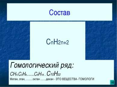 Состав CH4 C2H6 C3H8 CnH2n+2 Гомологический ряд: CH4,C2H6,…..C8H18….C10H22 Ме...