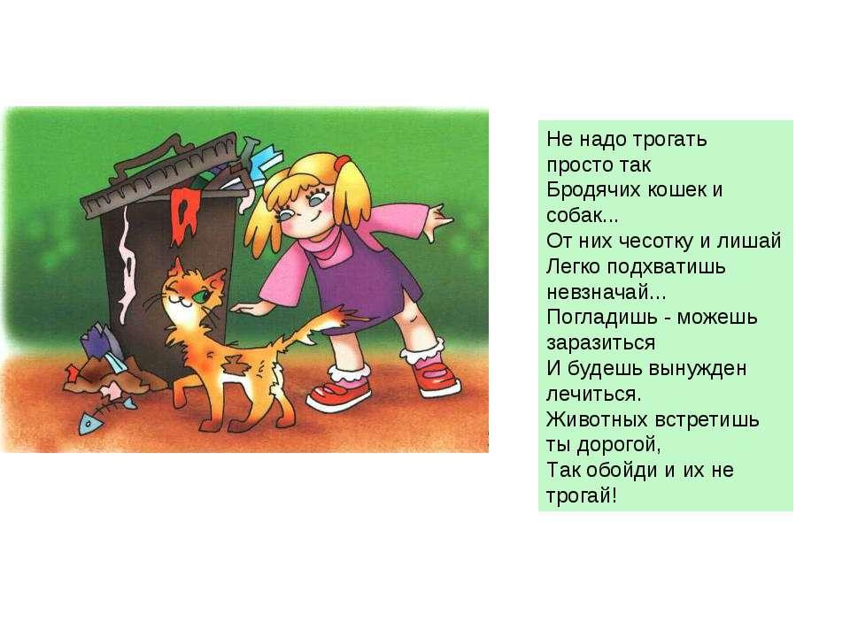 Не надо трогать просто так Бродячих кошек и собак... От них чесотку и лишай Л...