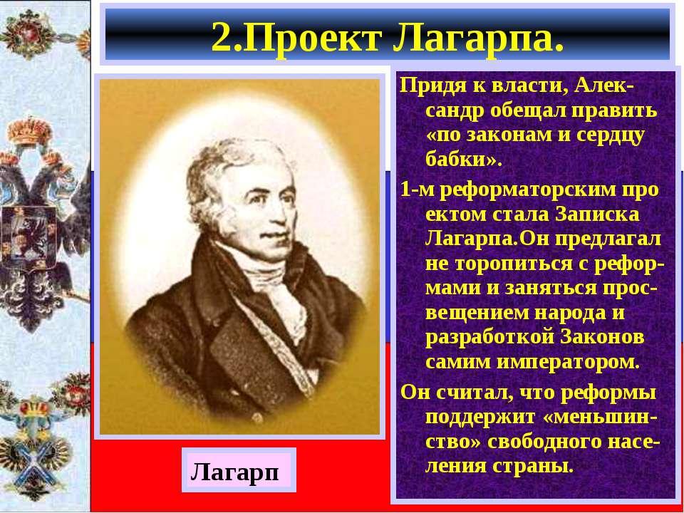 2.Проект Лагарпа. Придя к власти, Алек-сандр обещал править «по законам и сер...
