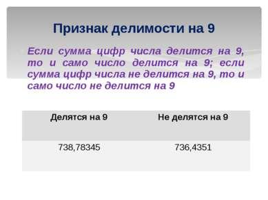 Если сумма цифр числа делится на 9, то и само число делится на 9; если сумма ...