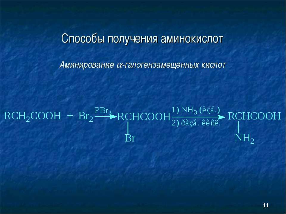 * Способы получения аминокислот Аминирование -галогензамещенных кислот