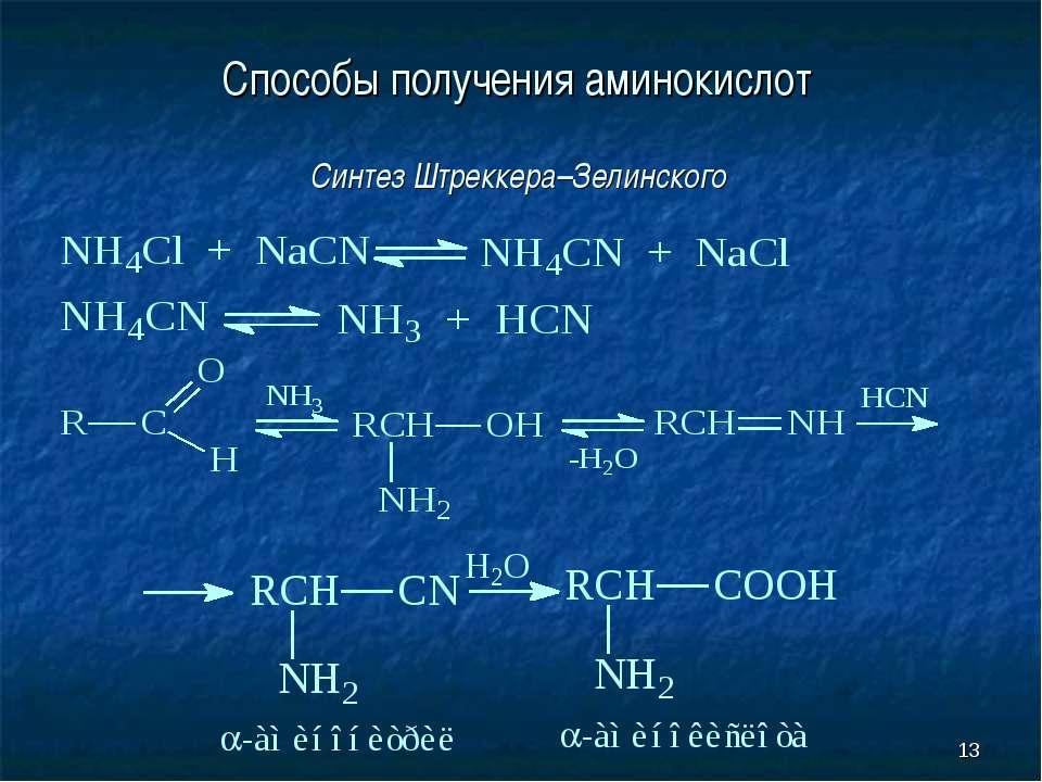 * Способы получения аминокислот Синтез Штреккера–Зелинского