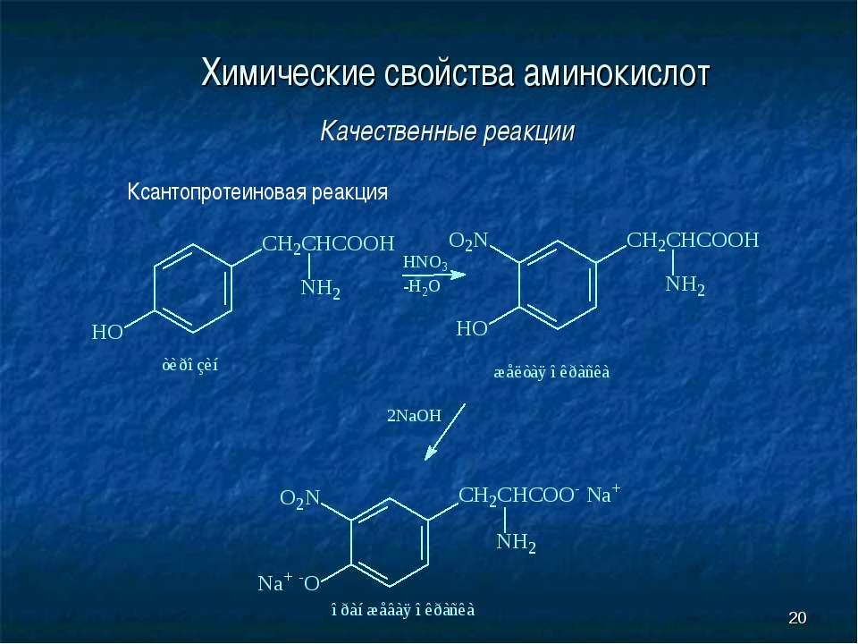 * Химические свойства аминокислот Качественные реакции Ксантопротеиновая реакция