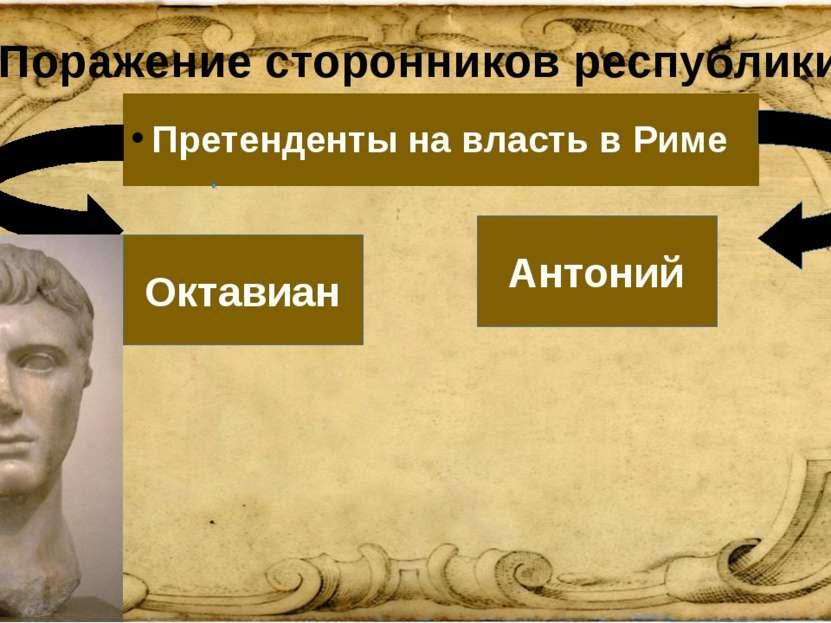 2. Поражение сторонников республики. Претенденты на власть в Риме Октавиан Ан...