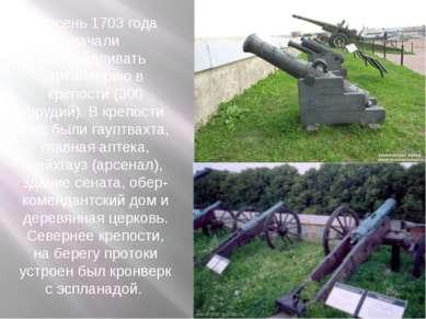 В осень 1703 года начали устанавливать артиллерию в крепости (300 орудий). В ...
