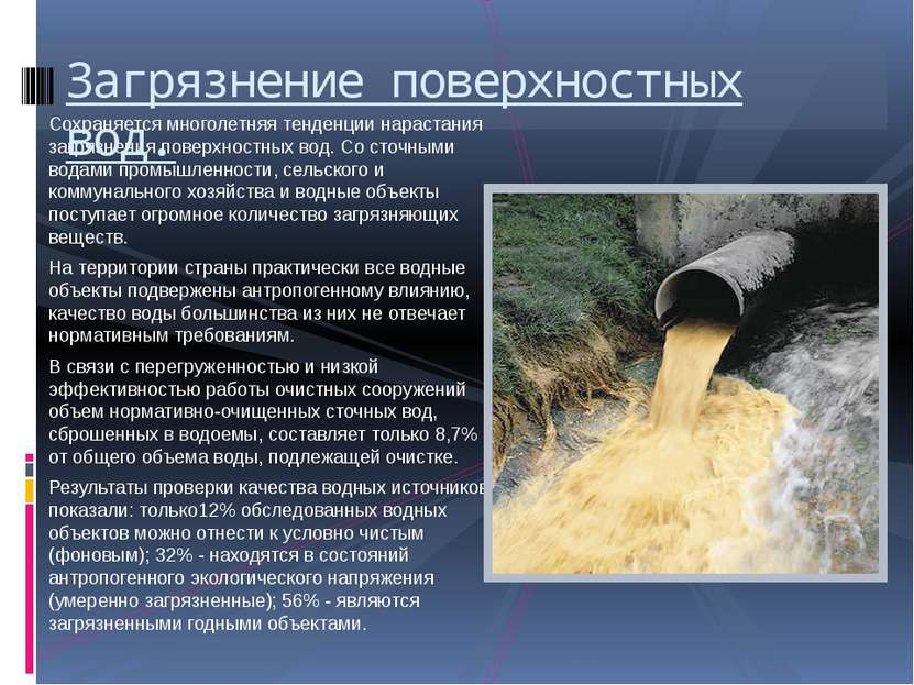 Сохраняется многолетняя тенденции нарастания загрязнения поверхностных вод. С...