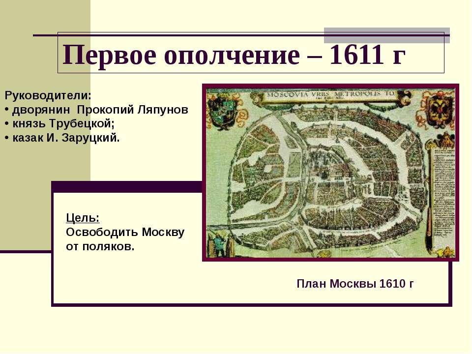 Первое ополчение – 1611 г План Москвы 1610 г Руководители: дворянин Прокопий ...
