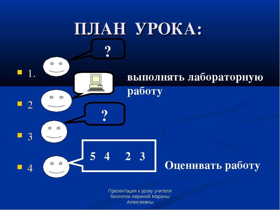 Презентация к уроку учителя биологии Авриной Марины Алексеевны ПЛАН УРОКА: 1....