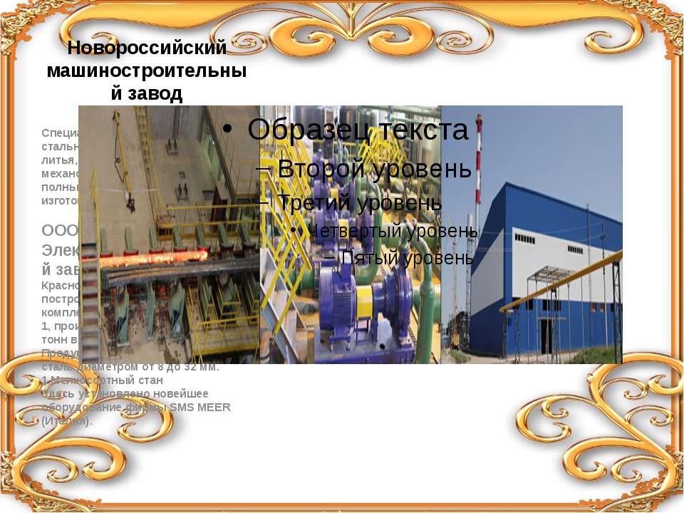 Новороссийский машиностроительный завод Специализируется на производстве стал...