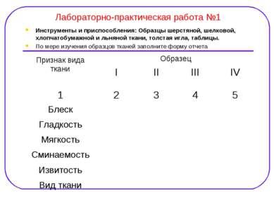 Лабораторно-практическая работа №1 Инструменты и приспособления: Образцы шерс...