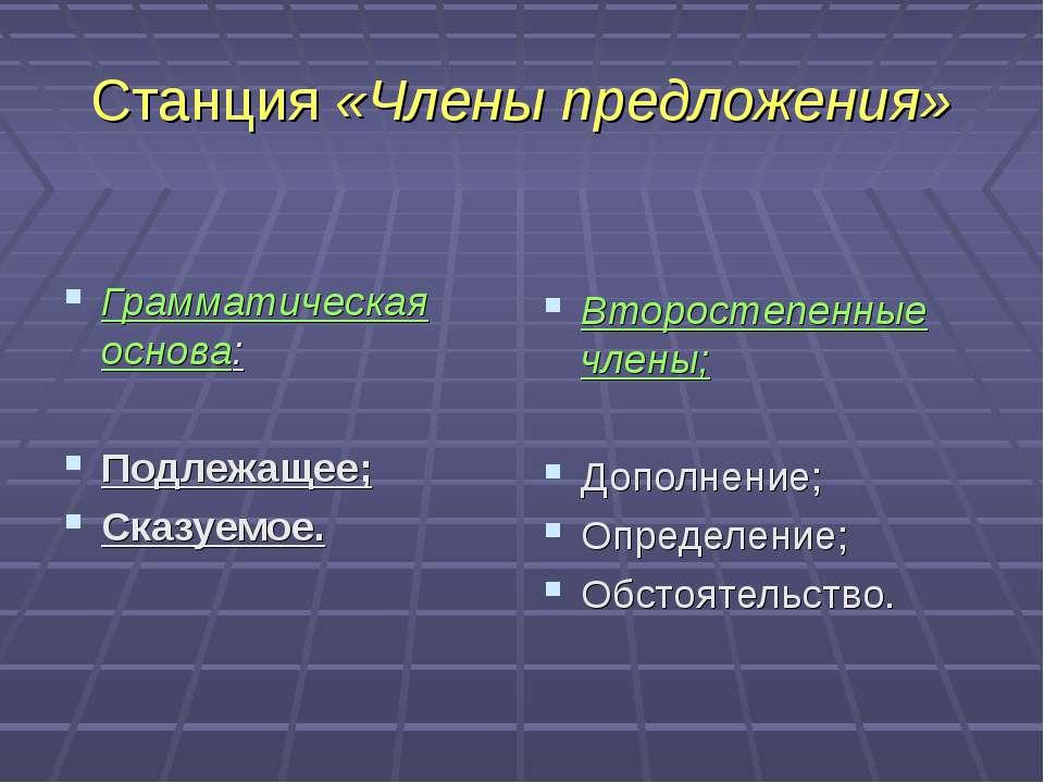 Станция «Члены предложения» Грамматическая основа: Подлежащее; Сказуемое. Вто...