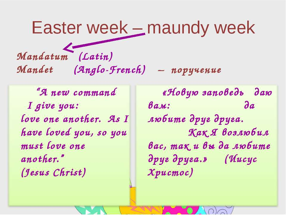 Easter week – maundy week Mandatum (Latin) Mandet (Anglo-French) – поручение ...