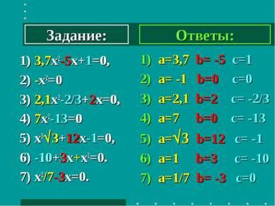 1) 3,7х2-5х+1=0, 2) -х2=0 3) 2,1х2-2/3+2х=0, 4) 7х2-13=0 5) х2 3+12х-1=0, 6) ...