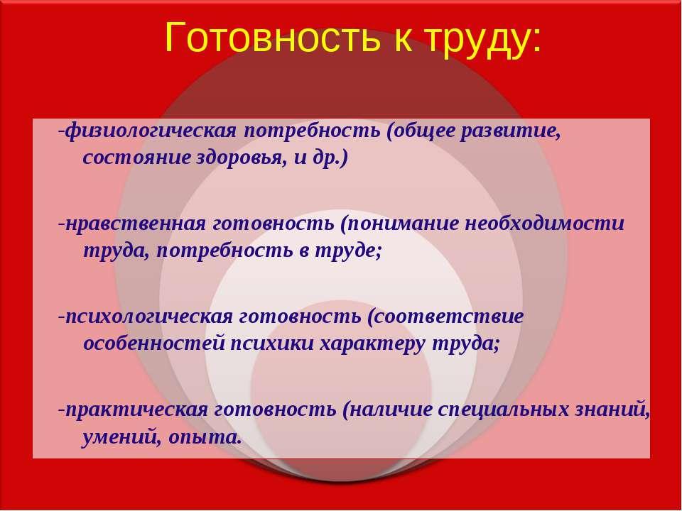 Готовность к труду: -физиологическая потребность (общее развитие, состояние з...