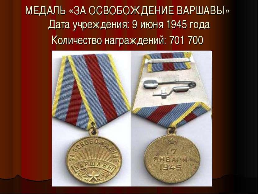 МЕДАЛЬ «ЗА ОСВОБОЖДЕНИЕ ВАРШАВЫ» Дата учреждения: 9 июня 1945 года Количество...