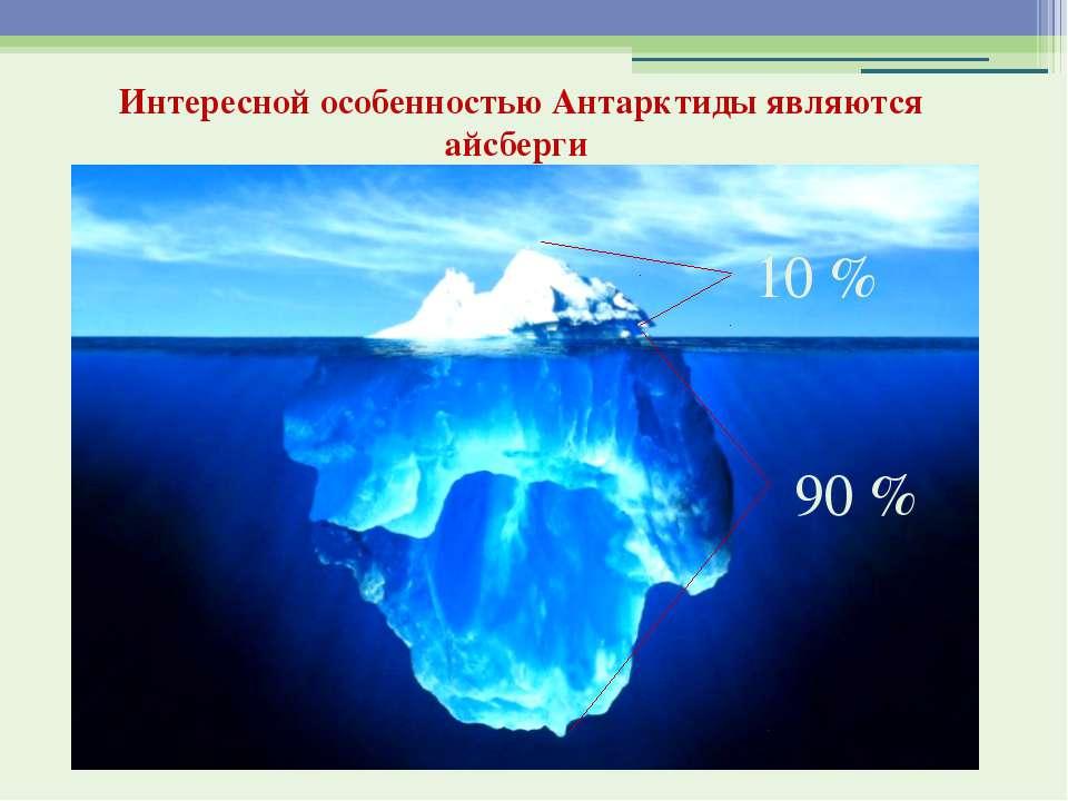 10 % 90 % Интересной особенностью Антарктиды являются айсберги