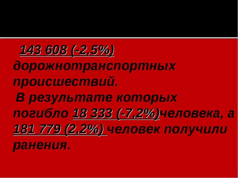 143 608 (-2,5%) дорожнотранспортных происшествий. В результате которых погибл...