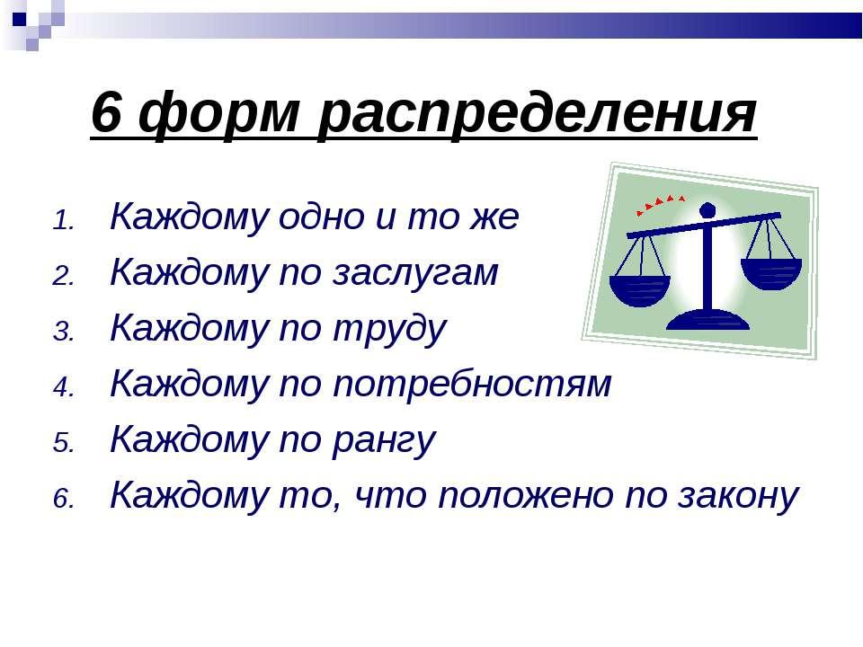 6 форм распределения Каждому одно и то же Каждому по заслугам Каждому по труд...