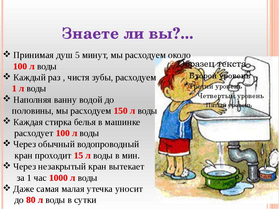 Знаете ли вы?... Принимая душ 5 минут, мы расходуем около 100 л воды Каждый р...