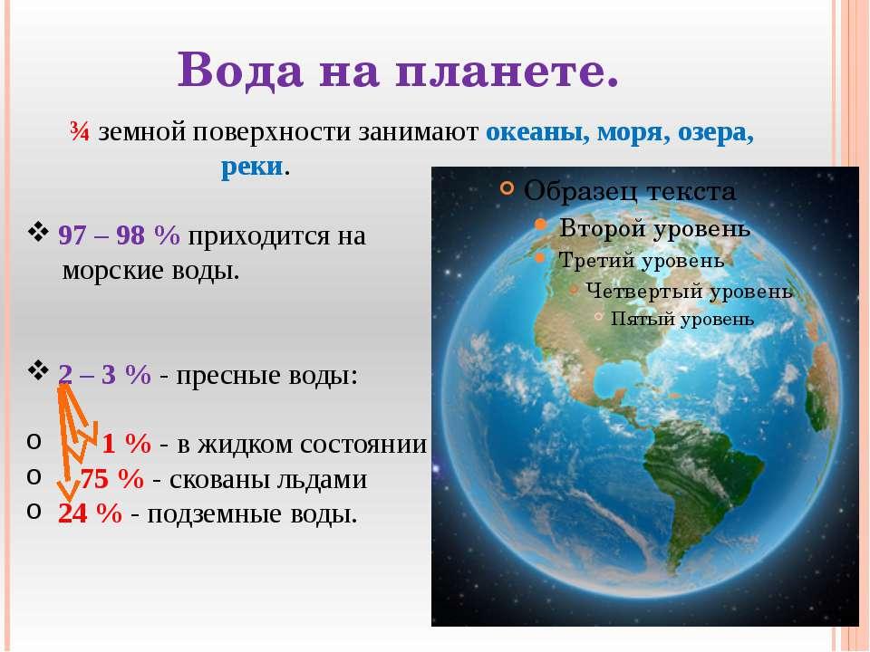 Вода на планете. ¾ земной поверхности занимают океаны, моря, озера, реки. 97 ...