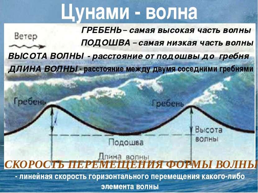 Цунами - волна ГРЕБЕНЬ – самая высокая часть волны ПОДОШВА – самая низкая час...
