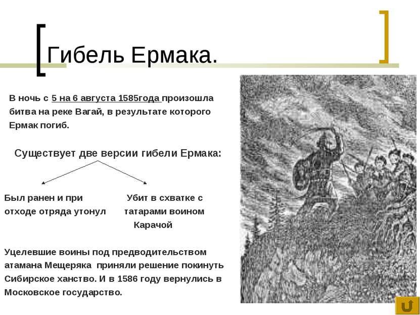 Гибель Ермака. В ночь с 5 на 6 августа 1585года произошла битва на реке Вагай...