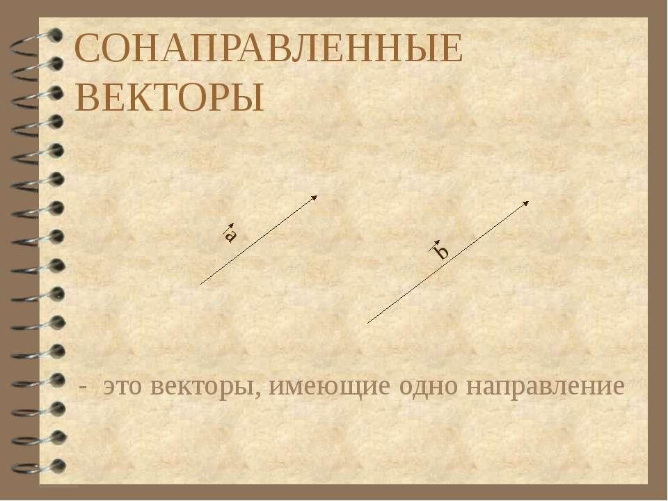 СОНАПРАВЛЕННЫЕ ВЕКТОРЫ - это векторы, имеющие одно направление а b