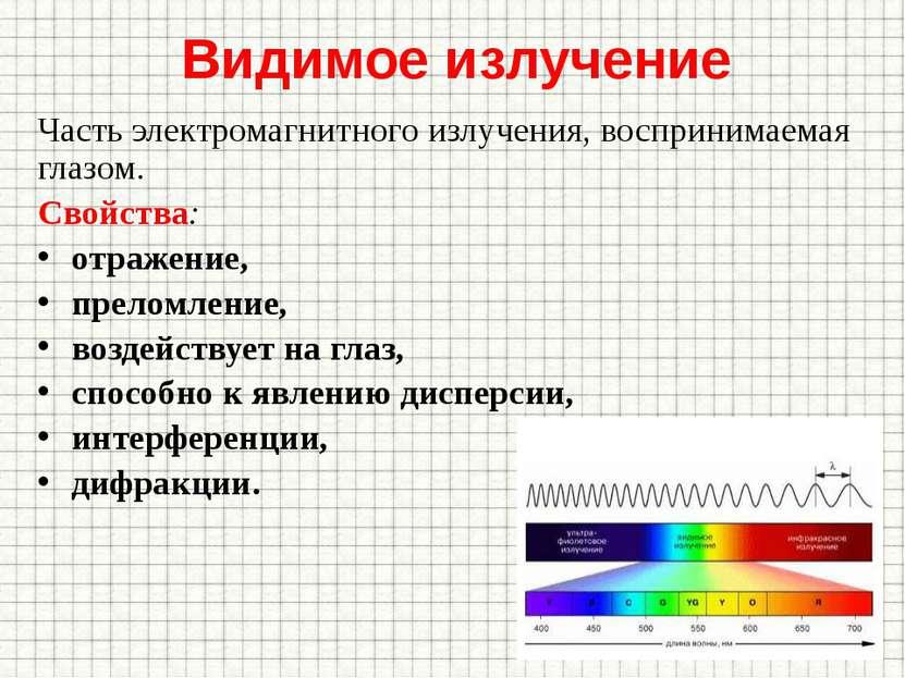 Видимое излучение Часть электромагнитного излучения, воспринимаемая глазом. С...