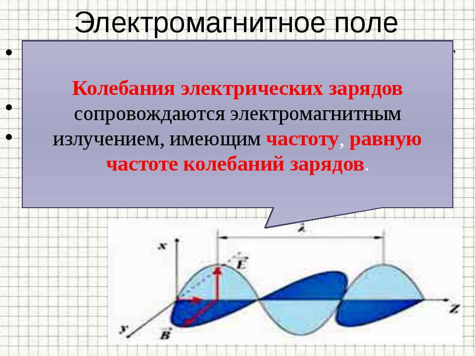 Электромагнитное поле Источниками электромагнитного поля могут быть: - движущ...