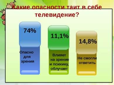 Какие опасности таит в себе телевидение? Опасно для зрения 74% Не смогли отве...