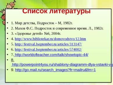 Список литературы 1. Мир детства, Подросток – М, 1982г. 2. Махов Ф.С. Подрост...