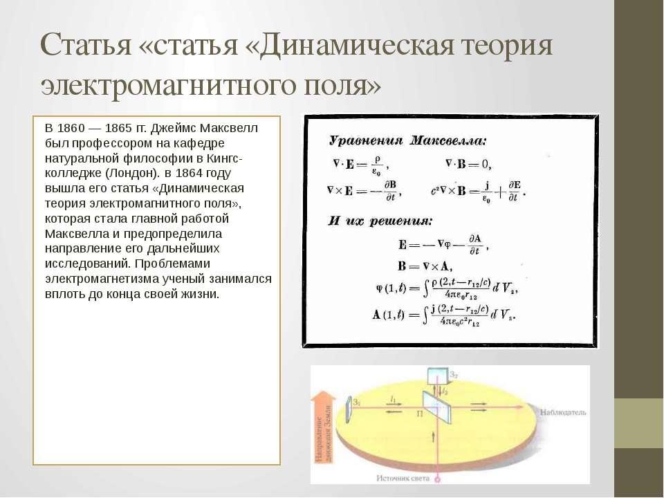 Статья «статья «Динамическая теория электромагнитного поля» В 1860 — 1865 гг....