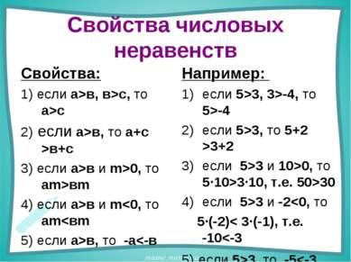 Свойства числовых неравенств Свойства: 1) если а>в, в>с, то а>с 2) если а>в, ...