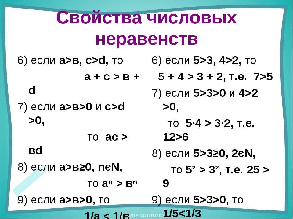 Свойства числовых неравенств 6) если а>в, с>d, то а + с > в + d 7) если а>в>0...