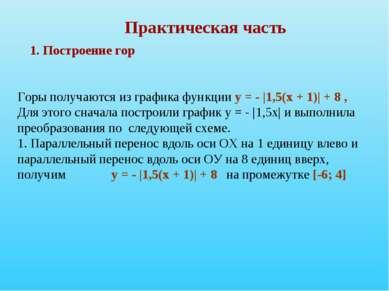 Практическая часть 1. Построение гор Горы получаются из графика функции у = -...