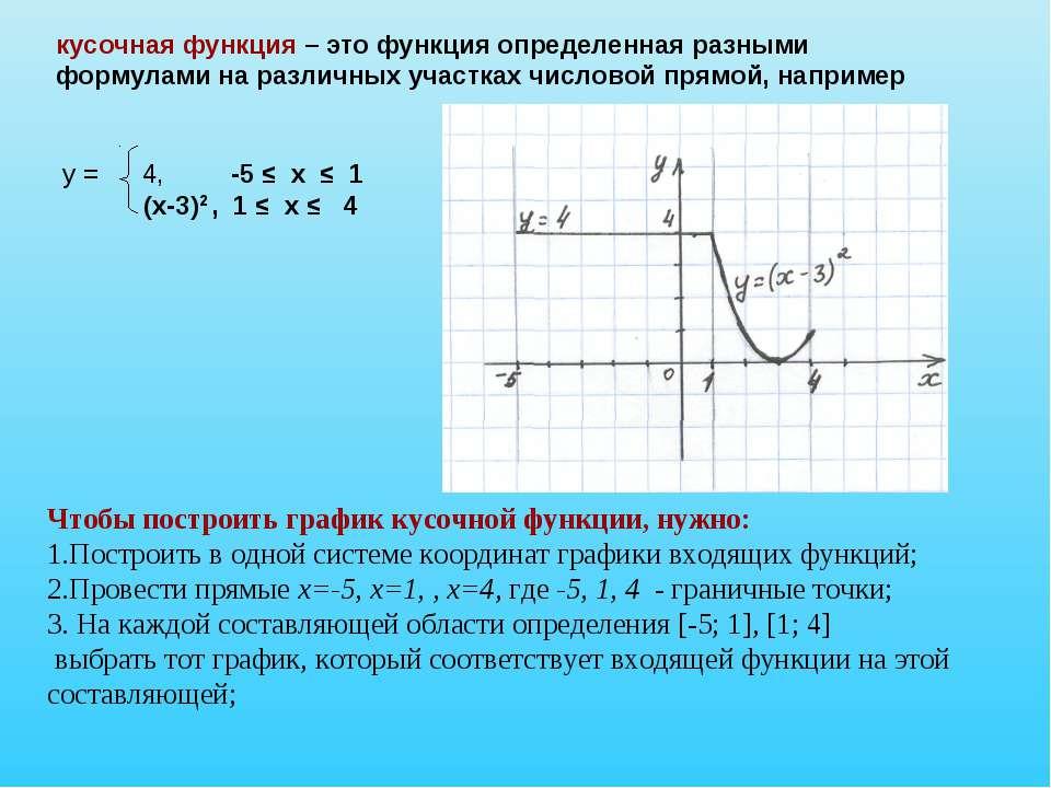 кусочная функция – это функция определенная разными формулами на различных уч...