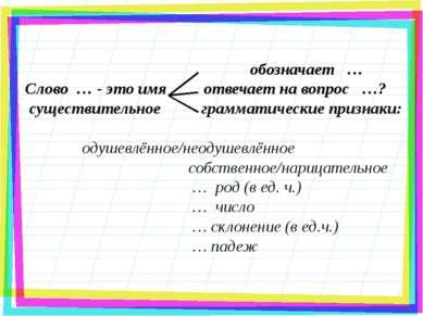 обозначает … Слово … - это имя отвечает на вопрос …? существительное граммати...
