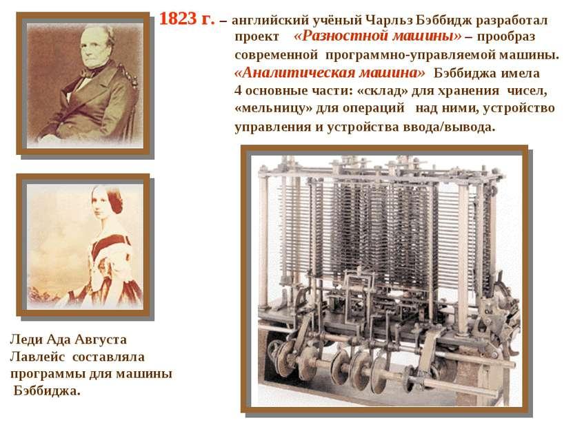 1823 г. – английский учёный Чарльз Бэббидж разработал проект «Разностной маши...