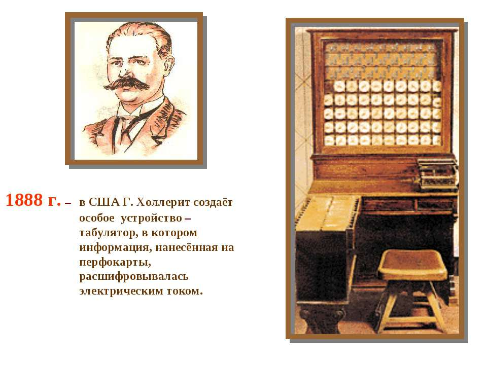 1888 г. – в США Г. Холлерит создаёт особое устройство – табулятор, в котором ...