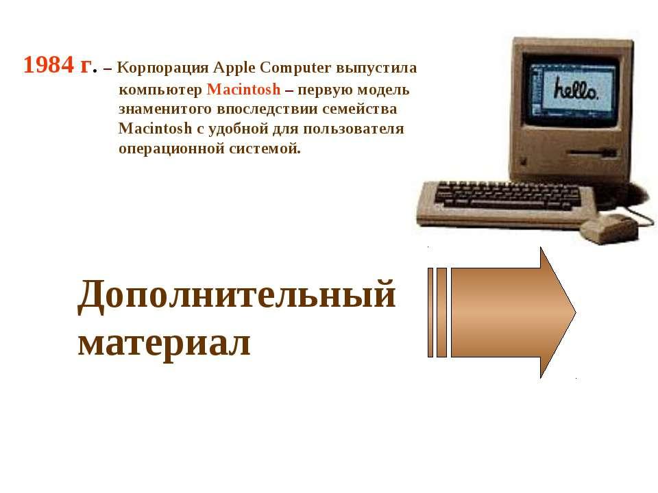 1984 г. – Корпорация Apple Computer выпустила компьютер Macintosh – первую мо...