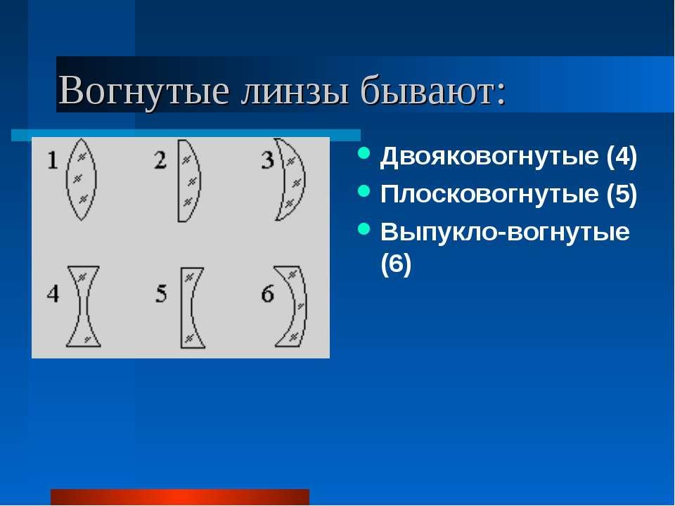 Вогнутые линзы бывают: Двояковогнутые (4) Плосковогнутые (5) Выпукло-вогнутые...