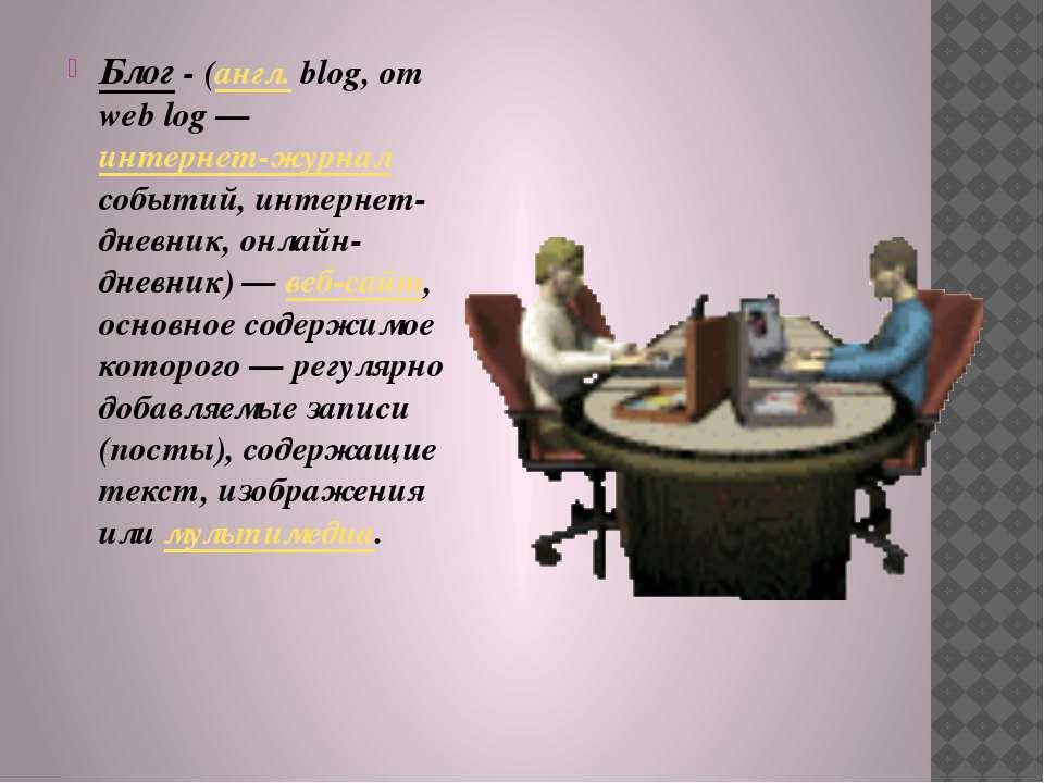 Блог - (англ.blog, от web log — интернет-журнал событий, интернет-дневник, о...