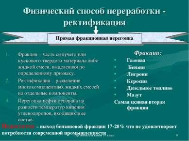 Органическая химия 10 класс * Физический способ переработки - ректификация Фр...