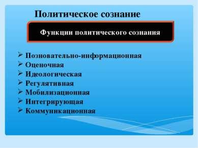 Политическое сознание Позновательно-информационная Оценочная Идеологическая Р...
