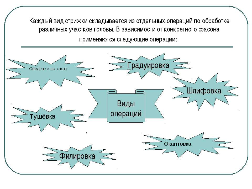 Каждый вид стрижки складывается из отдельных операций по обработке различных ...