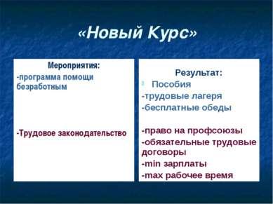«Новый Курс» Мероприятия: -программа помощи безработным -Трудовое законодател...