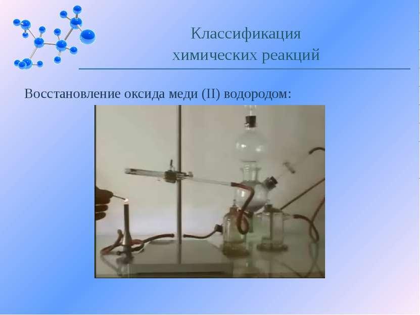 Восстановление оксида меди (II) водородом: Классификация химических реакций