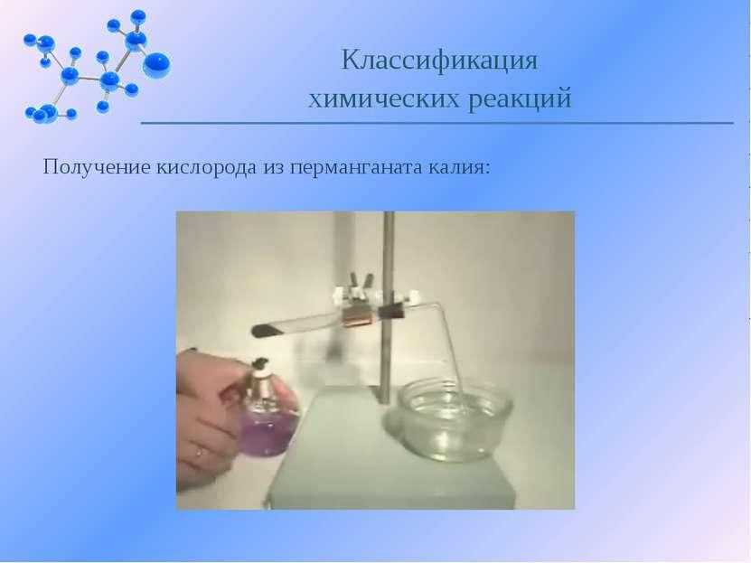 Получение кислорода из перманганата калия: Классификация химических реакций