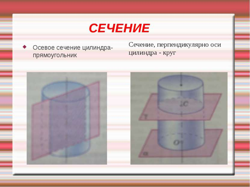 СЕЧЕНИЕ Осевое сечение цилиндра-прямоугольник